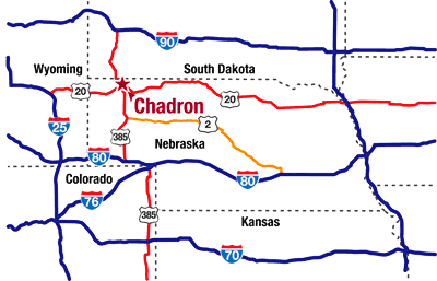 Chadron, NE road map